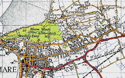 Old map of Ashcombe Park in 1946