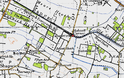 Old map of Ashcott Corner in 1946