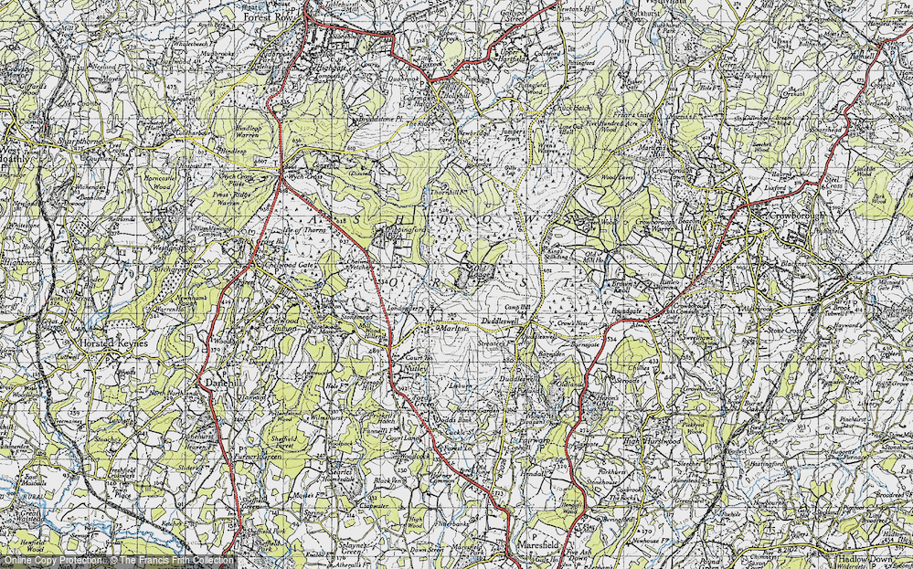 Old Map of Ashdown Forest, 1940 in 1940
