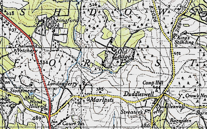 Old map of Ashdown Forest in 1940