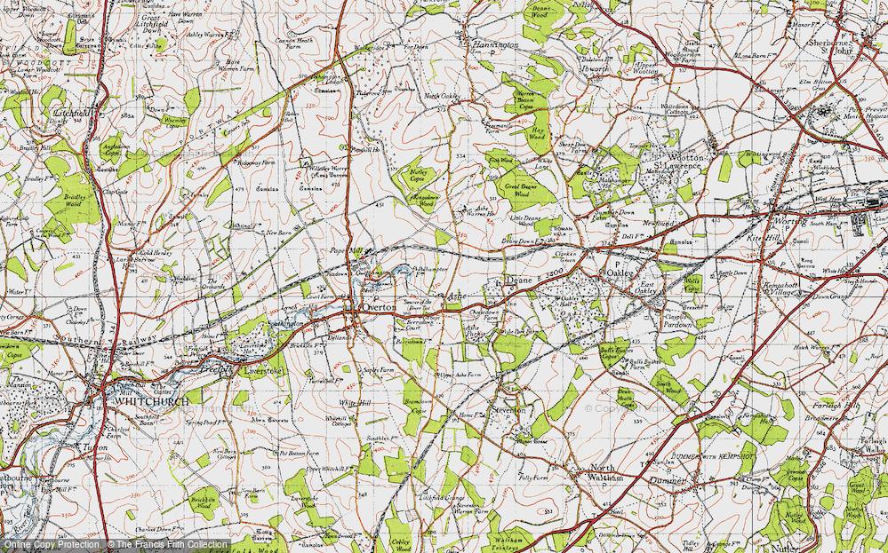Old Map of Historic Map covering Ashe Warren Ho in 1945