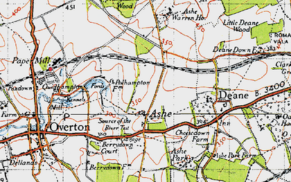 Old map of Ashe Warren Ho in 1945