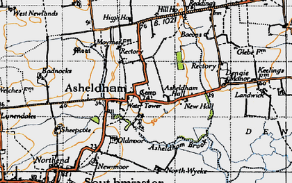 Old map of Asheldham in 1945