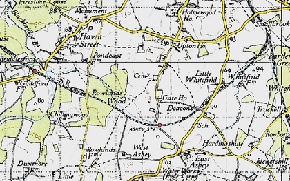 Old map of Ashey Down in 1945