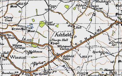 Old map of Ashfield Cum Thorpe in 1946