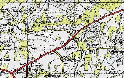 Old map of Ashfold Crossways in 1940