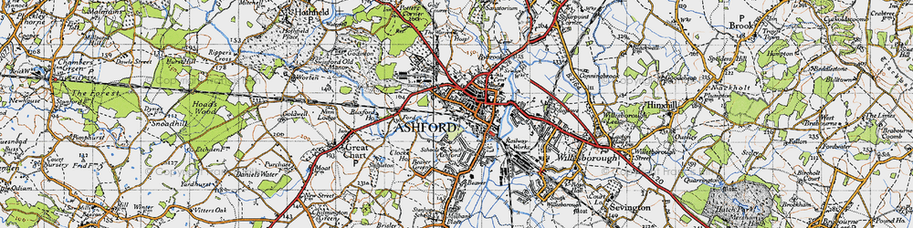 Old map of Ashford in 1940