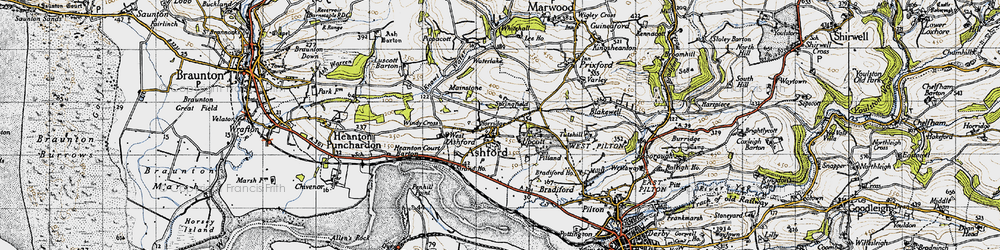 Old map of Ashford in 1946