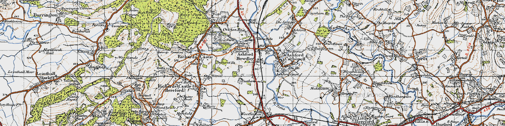 Old map of Wheat Common in 1947
