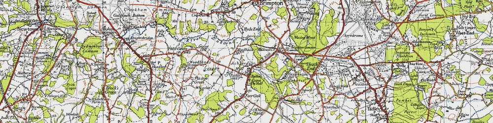 Old map of Ashford Hill in 1945