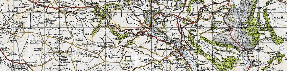 Old map of Ashford in the Water in 1947