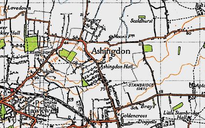 Old map of Ashingdon in 1945