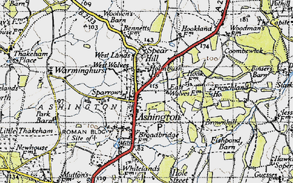 Old map of Ashington in 1940