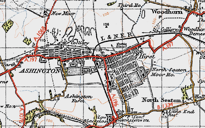 Old map of Ashington in 1947