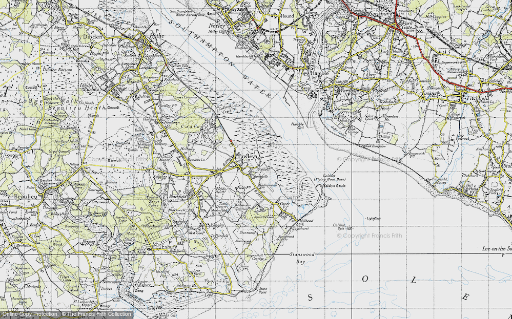 Old Map of Historic Map covering Ashlett Creek in 1945