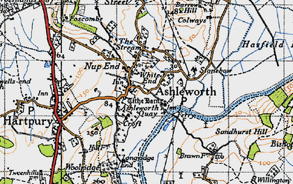 Old map of Ashleworth in 1947