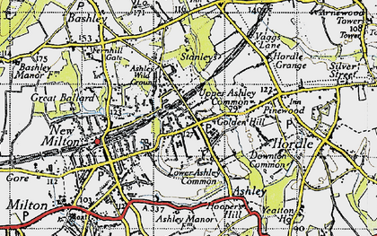 Old map of Ashley in 1940