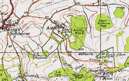 Old map of Ashley in 1945