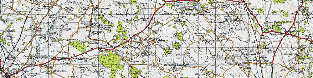 Old map of Akesworth Coppice in 1946