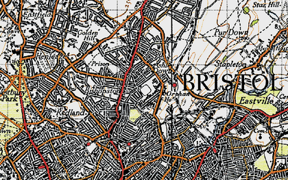 Old map of Ashley Down in 1946