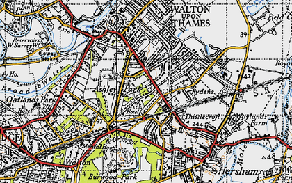 Old map of Ashley Park in 1940