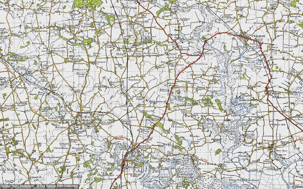 Old Map of Ashmanhaugh, 1945 in 1945