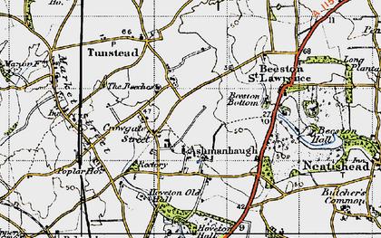 Old map of Ashmanhaugh in 1945