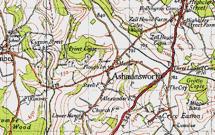 Old map of Ashmansworth in 1945