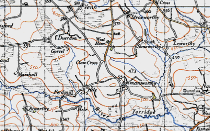 Old map of Ashmansworthy in 1946