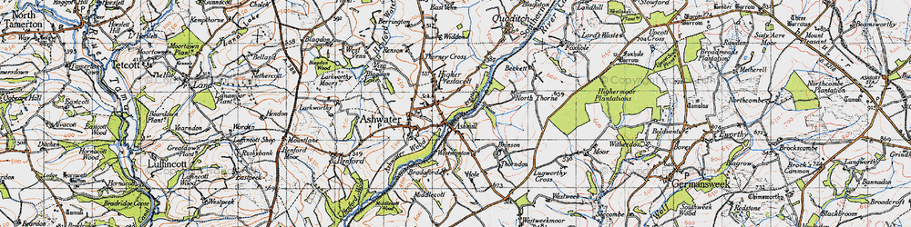 Old map of Ashmill in 1946