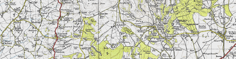 Old map of Woodley Down in 1940