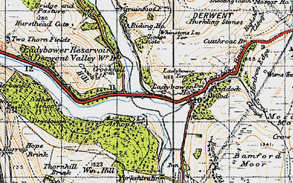 Old map of Win Hill in 1947