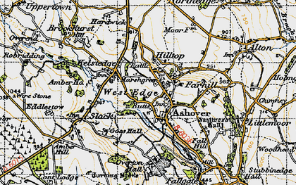 Old map of Ashover in 1947