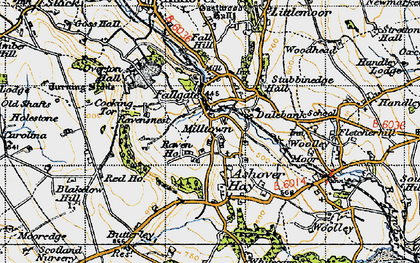 Old map of Ashover Hay in 1947
