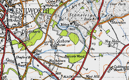 Old map of Ashow in 1946
