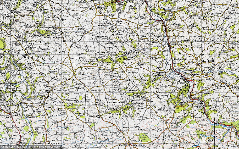 Old Map of Ashreigney, 1946 in 1946