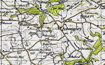 Old map of Ashreigney in 1946