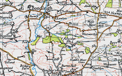 Old map of Ashridge Court in 1946