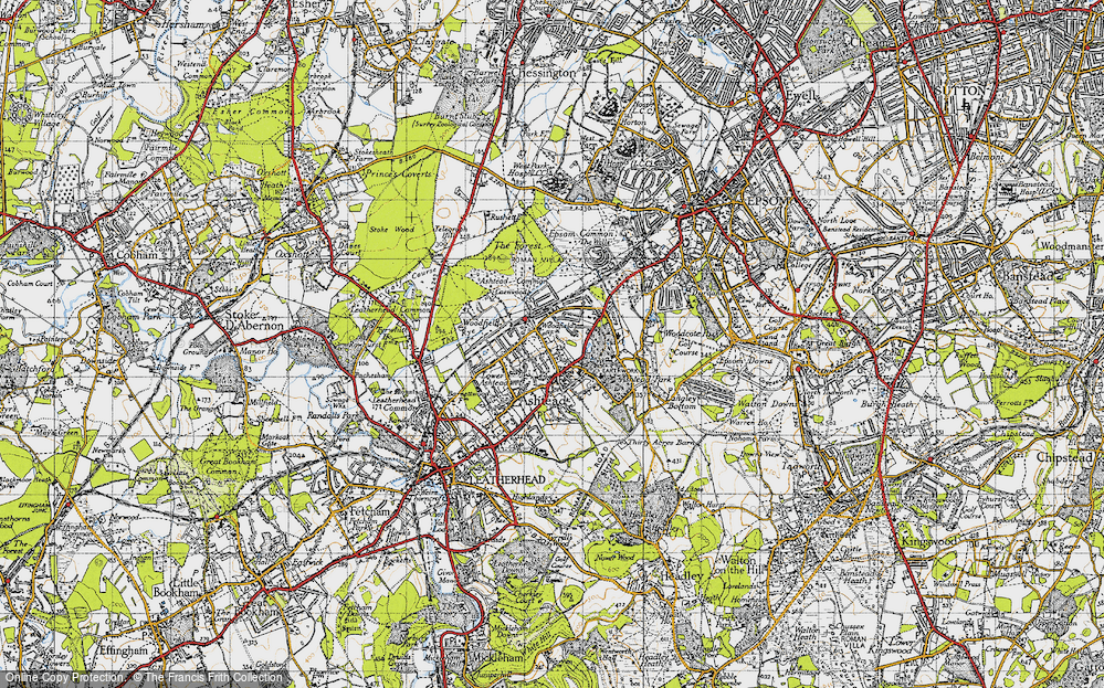 Old Map of Historic Map covering Ashtead Park in 1945