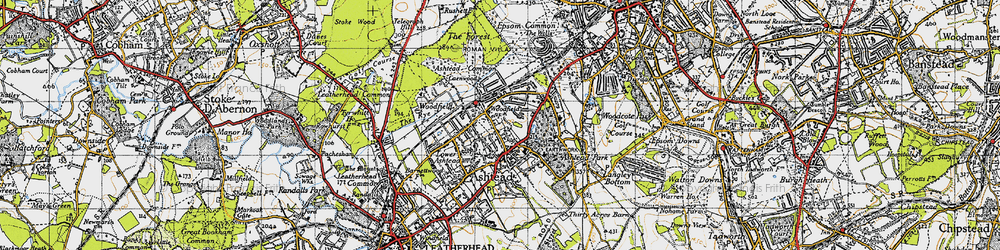Old map of Ashtead in 1945
