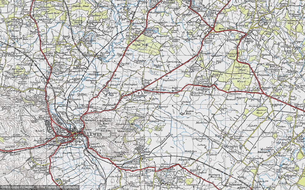 Old Map of Historic Map covering Laughton Place in 1940