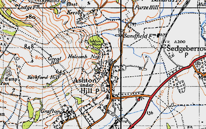 Old map of Ashton under Hill in 1946