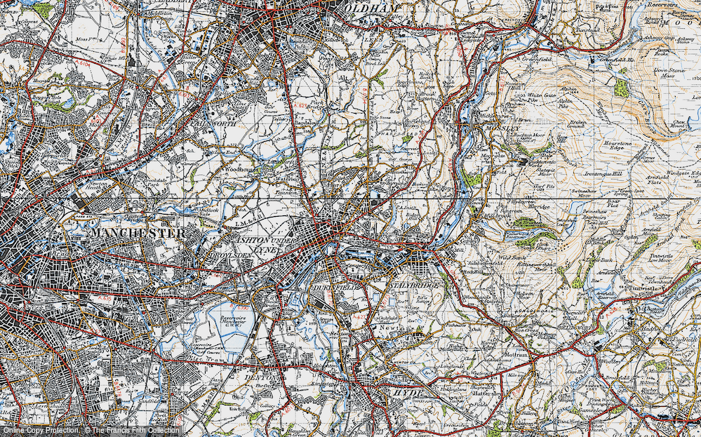 Old Map of Ashton-Under-Lyne, 1947 in 1947