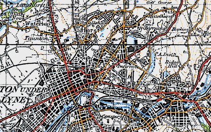 Old map of Ashton-Under-Lyne in 1947