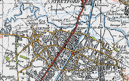 Old map of Ashton Upon Mersey in 1947