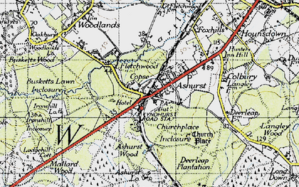 Old map of Ashurst Lodge in 1945