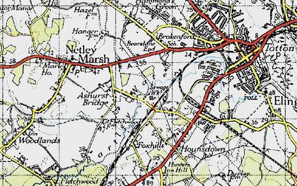 Old map of Ashurst Bridge in 1945