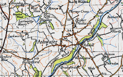 Old map of Ashwater in 1946