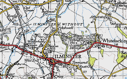 Old map of Ashwell in 1945