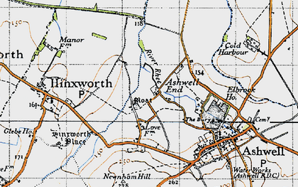 Old map of Ashwell End in 1946